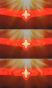 医院徽标红绸粒子背景视频素材