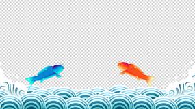 原创4K鱼跃龙门海浪循环带通道模板