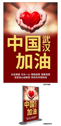 武汉加油宣传海报展板设计PSD模板