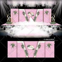 白粉色大理石纹婚礼效果图设计婚庆主舞台