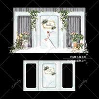 白绿色INS风婚礼效果图设计大理石纹婚庆