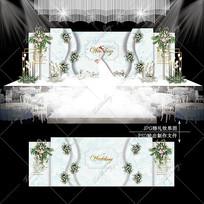 白绿色大理石纹婚礼水彩婚庆舞台背景