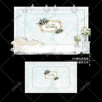 白绿色水彩婚礼效果图设计大理石纹婚庆