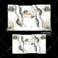 大理石纹婚礼效果图设计INS浪漫清新婚庆
