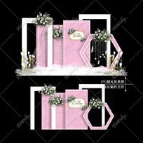 粉白色大理石纹婚礼效果图设计婚庆迎宾区