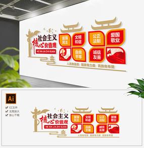 红色新中式社会主义核心价值观党建文化墙