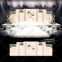 香槟色主题婚礼效果图设计大理石纹婚庆舞台