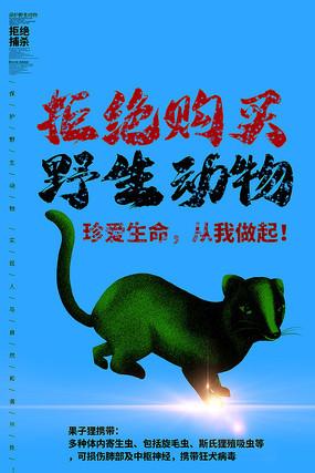 保护野生动物果子狸公益海报