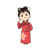 原创元素-古装红裙子小女孩