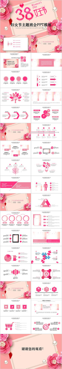 粉色花朵温馨妇联女性三八妇女节PPT