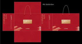 红色礼品盒包装设计模版