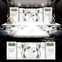 白绿色婚礼舞台宴会效果图设计婚庆背景