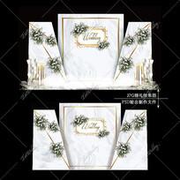 白绿色婚礼舞台宴会效果图设计婚庆迎宾区