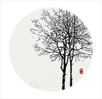 寒秋新中式无框画