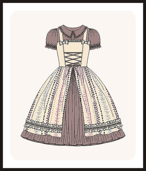洛丽塔服装女装设计款式图