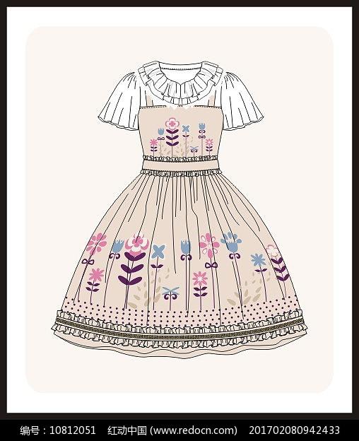 洛丽塔服装设计款式图女装矢量图图片