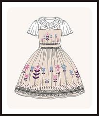 洛丽塔服装设计款式图女装矢量图