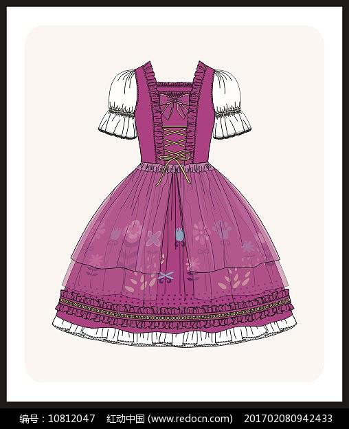 洛丽塔服装设计款式图女装矢量图服装画图片