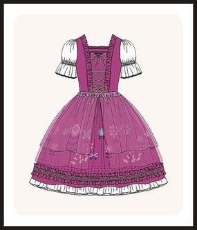 洛丽塔服装设计款式图女装矢量图服装画