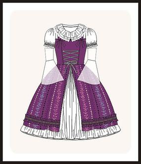 洛丽塔服装设计女装宫廷风款式图