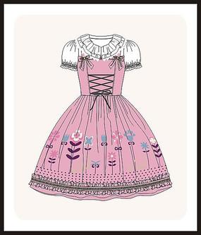 洛丽塔服装设计女装款式图CDR