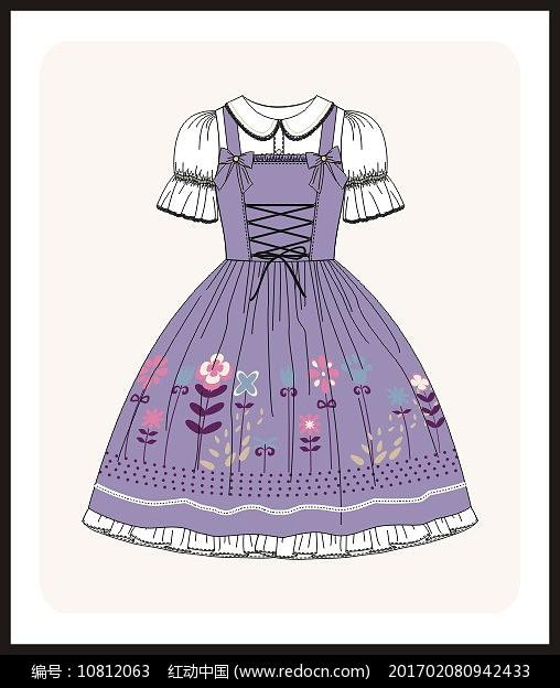 洛丽塔服装设计女装矢量图图片