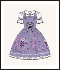 洛丽塔服装设计女装矢量图