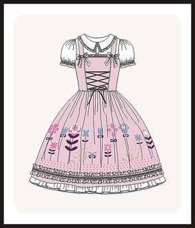 洛丽塔服装设计女装矢量图款式图