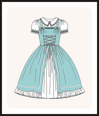 洛丽塔服装设计少女装矢量图