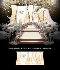 香槟色大理石简约婚礼背景板