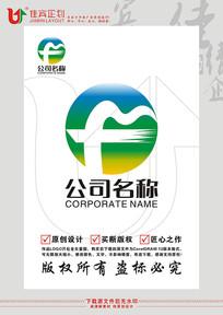 F英文字母山水旅游标志设计