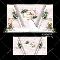 白粉色婚礼舞台宴会效果图设计大理石纹婚庆