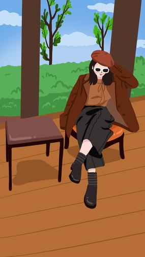 高冷成熟风格美女坐在公园长廊凳子上的插画