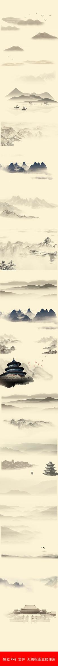 古典古风水墨山中国风背景素材