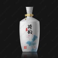荷韵酒白瓷酒瓶效果图