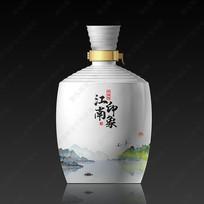 江南印象白瓷酒瓶效果图