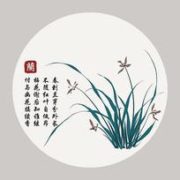 兰花新中式无框画插画