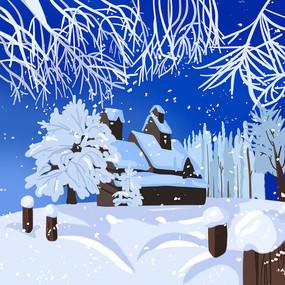 美丽的雪景冬天雪房子