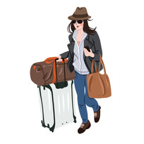 拿着一大堆行李去旅行的美女时尚