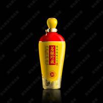 茗酿珍藏黄色酒瓶效果图