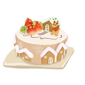 手绘房子形状生日蛋糕