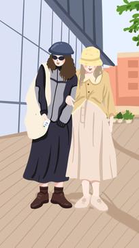 手绘小清新背景海报插画闺蜜牵手逛街场景