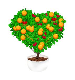原创桔子爱心植物树