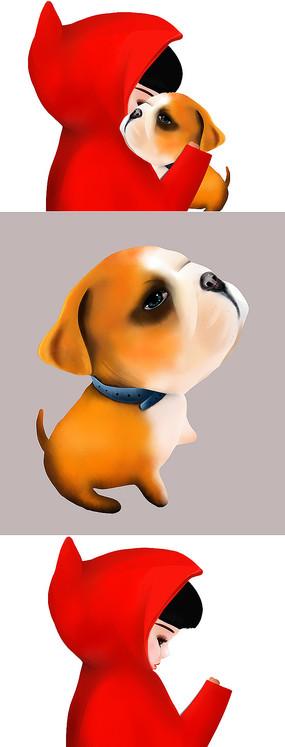 原创可爱卡通小狗陪伴小孩