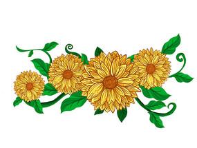 原创元素向日葵花边
