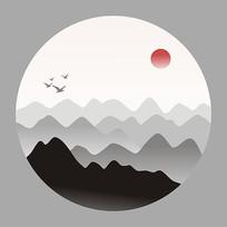 远山含黛中国风水墨无框画