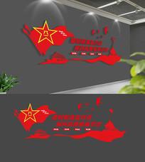 3D红色部队文化墙