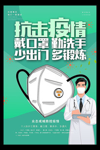 预防新型冠状病毒戴口罩知识海报