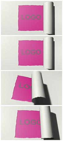 纸撕纸效果logo片头视频模板