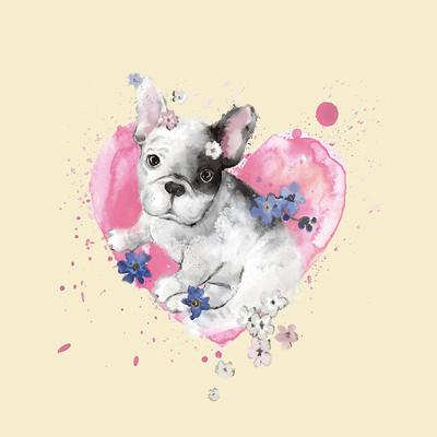 狗狗爱心T恤印花图案